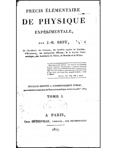Précis élémentaire de Physique: Tome I